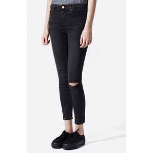 Topshop Moto Ripped Leigh Mid Rise Skinny Jeans
